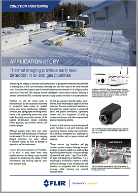 FLIR has published an application story featuring IntelliView's automated and analytic camera-based leak detection system designed for real-time, above-ground facilities, including liquids pipeline, pump stations, pig traps, pig receivers, and storage tanks. https://intelliviewtech./com