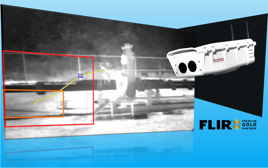 The IntelliView DCAM-M and methane gas detection test photo with FLIR Gold Partner Logo