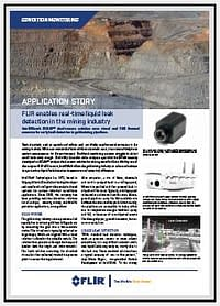 FLIR has published a leak detection application story for the mining industry. It features IntelliView's automated, real-time leak detection system, which uses bi-spectral imaging (thermal sensor and color camera with video analytics-based artificial intelligence), for above-ground liquid piping facilities.