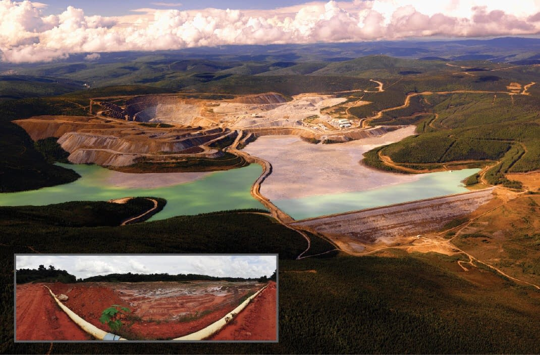 Pipelines transporting toxic fluids between a leech pad and tailings pond in gold mining