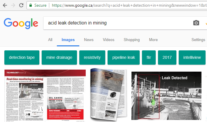 IntelliView tops Google Image search result ranking for leak detection technology in mining
