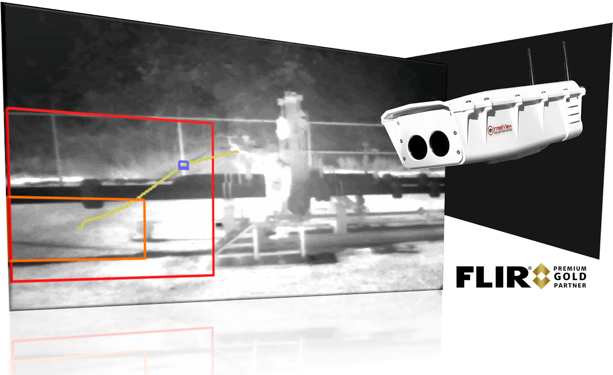 Automated real-time methane gas leak detection at aboveground oil and gas facilities with the IntelliView DCAM-M which features the FLIR GF77a uncooled (LWIR) sensor.